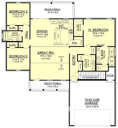 3 bedroom modern farmhouse plan. The formal entry and dining room open into a large open living area with raised ceilings and brick accent wall........