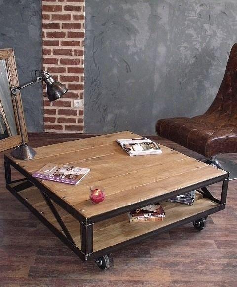 Table Basse industrielle- Table basse carrée bois et métal : Meubles et rangements par micheli-design