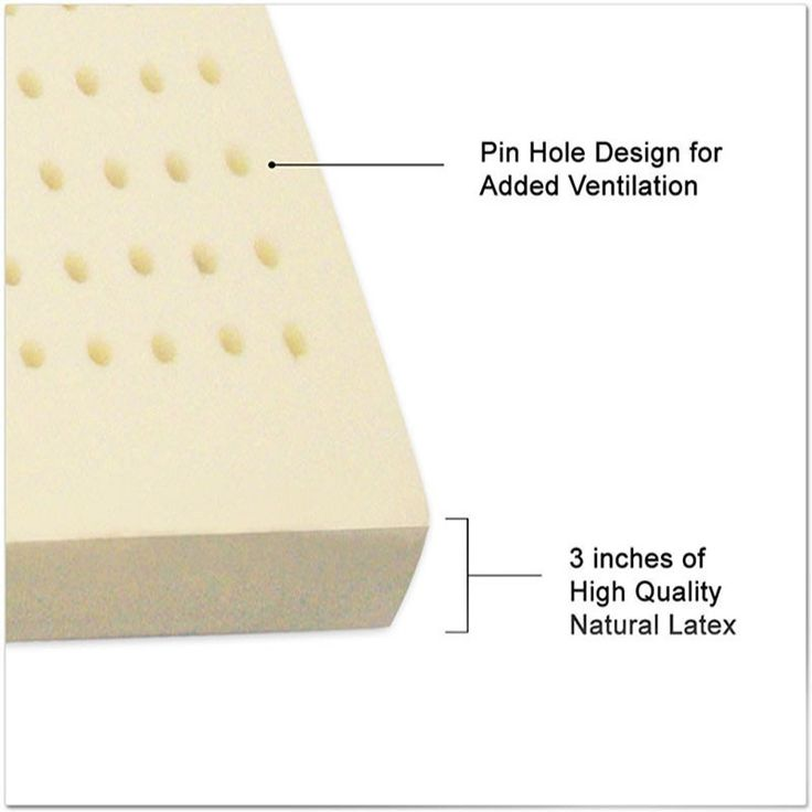 """3"""" natural latex topper conforms to your body shape. This helps with relieving back pain and adjusting spine and posture. Its heat sensitivity, static free surface, allows for a splendid nights sleep."""
