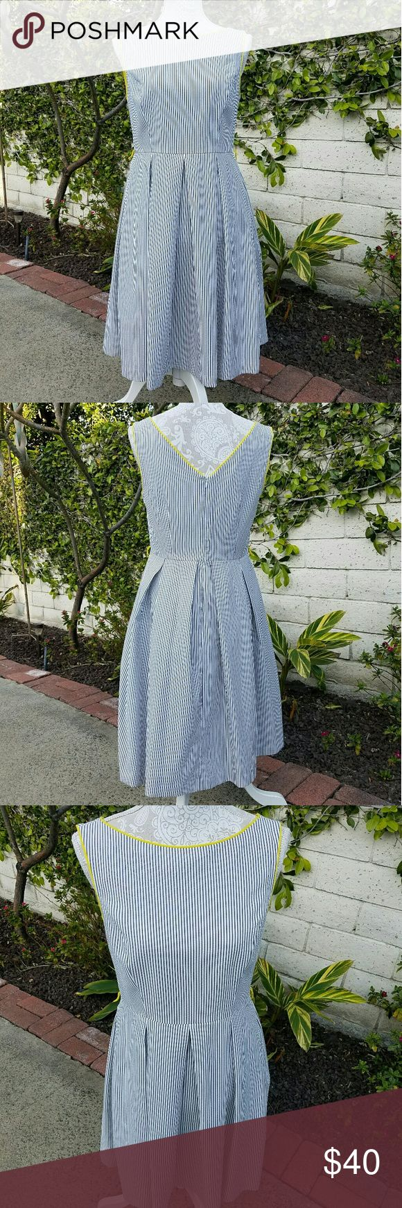Nieman Marcus Siena Studio Dress Siena Studios from Niman Marcus  Pin Stripe Dress blue/grey on white with yellow trim accent  Zip up back enclosure  Worn once no flaws siena studios  Dresses