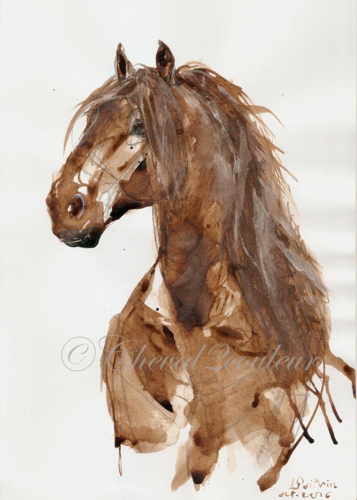 CHEVAL Andalou Portrait lavis sépia et encre de par Cheval2couleur