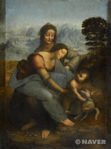 레오나르도 다 빈치가 1503년경 피렌체에서 제작한 작가의 후기 작품이다. 등장 인물은 성 안나와 성모 마리아 그리고 아기 예수이며, 중앙에 정면을 향해 앉아있는 여인이 마리아의 모친 성 안나다. 어머니의 무릎에 앉아있는 성모 마리아는 양의 등을 타려는 아기 예수를 양과 떼어놓으려 하고 있다. 양은 그리스도가 십자가에 못 박혀 죽게 될 희생양의 상징으로서, 마리아의 행위는 아들을 험난한 운명으로부터 막고 싶은 모정의 표현이라 볼 수 있다. 성화를 인간적인 측면에서 접근하고 해석하려 한 작가의 르네상스 정신을 읽을 수 있는 부분이다. 그림의 구도는 피라미드형이다.  이들이 앉아있는 곳은 결코 순탄치 못할 아기의 운명을 예고하려는 듯, 아름다운 초원이 아니라 척박한 바위산이다. 그림의 배경은 마치 한 폭의 동양화를 그린 듯 안개가 자욱한 풍경이다. 아름다운하늘의 이미지와 스푸마토기법 덕분인지 따뜻해 보인다.