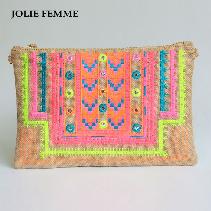 JOLIE FEMME Envelope clutch bags Handmade Double Face Ethnic Embroidery Phone Package sac a main femme necessaire vanity bag