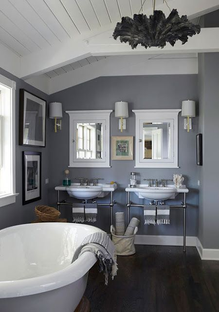 Paint color, Manor House gray by Farrow and Ball- # 265.I love this color for the Master bathroom