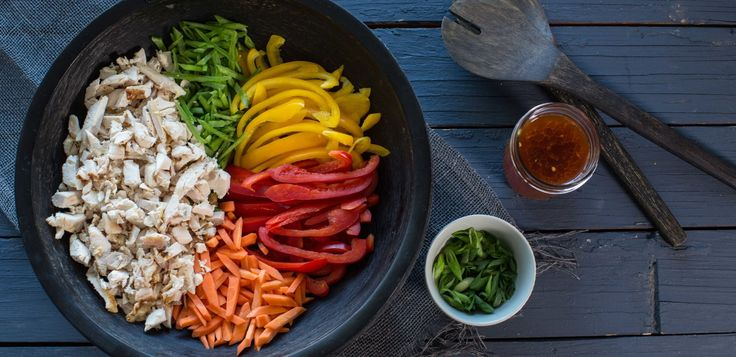 This quick and easy spicy Asian chicken salad is high in protein and packed with flavor to satisfy hunger and wake up the palate.