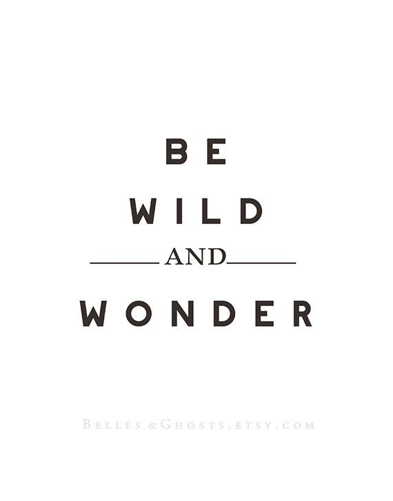 Be Wild & Wonder Illustrated Typography Quote Print Fine Art Home Decor Home and Wall Art Black and White Decor on Etsy, $8.00