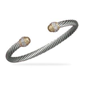 Rhodium Plated Sterling Silver Cable Cuff Bracelet 14 Karat Gold Plated Ends Accented With Clear CZs JewelryWeb. $146.00