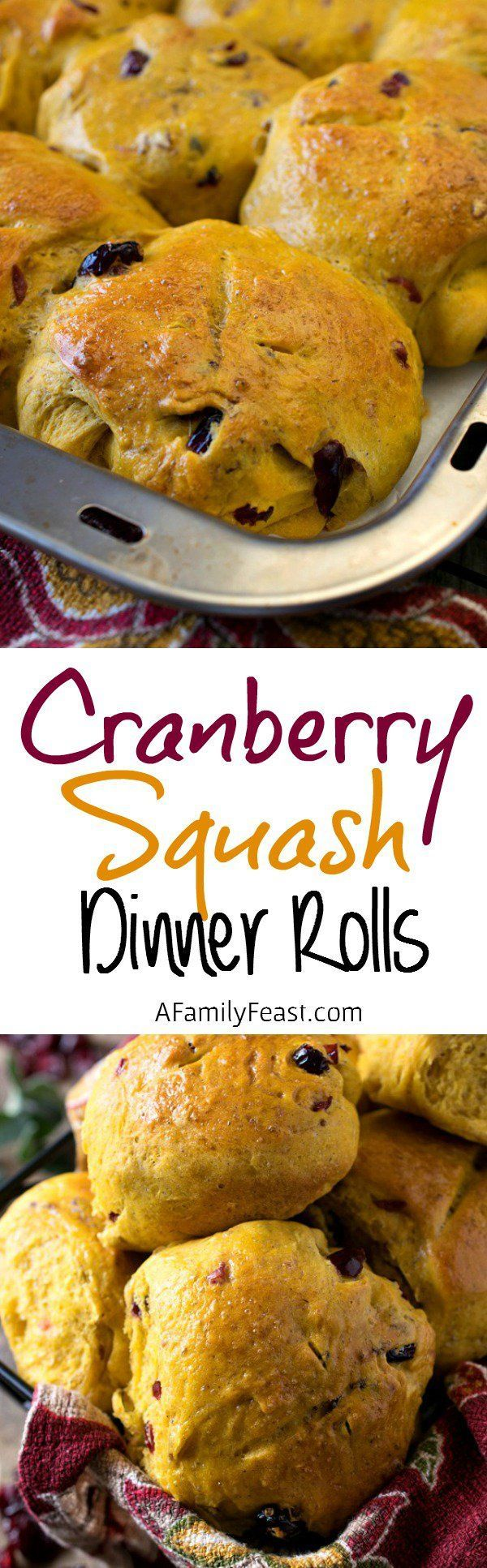 Cranberry Squash Dinner Rolls - Easy to make dinner rolls with great flavors and a soft, dense texture.
