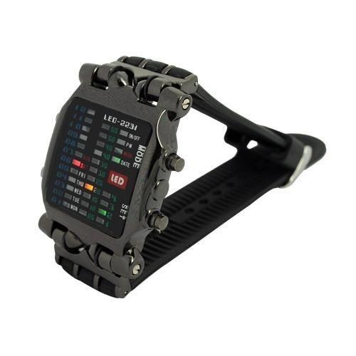 Cool 21 Colorful LED Digital Binary Wrist Watch men full steel watch