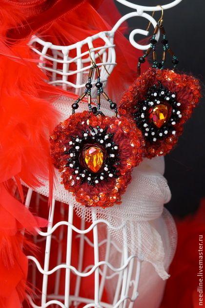 """Серьги ручной работы. Ярмарка Мастеров - ручная работа. Купить серьги """"Фламенко"""". Handmade. Бордовый, красивые серьги, хрустальные бусины"""