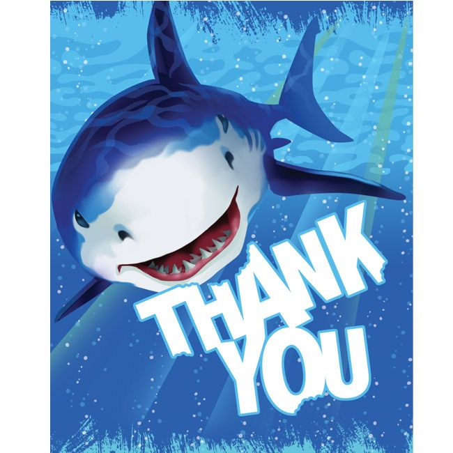 Shark Splash Thank You Cards Shark Birthday Party Splash Party Shark Birthday