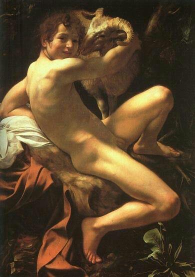 """Michelangelo Merisi da Caravaggio (Milano 1571 - Porto Ercole 1610) """"San Giovanni Battista"""" 1602 (129x94 olio su tela) Pinacoteca Capitolina, Roma"""