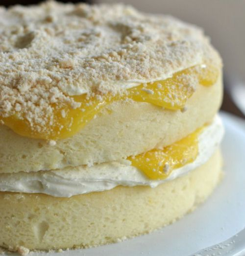 Lemon Cake with Creamy Filling and Lemon Curd