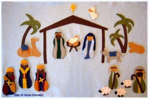Nativity scene made out of felt sheets. Felt for backing is from bolt. Free full pattern available on website for download. Add extra detail utilizing embroidery floss in contrasting color. Great tutorial and bonus crafting tips. DLW