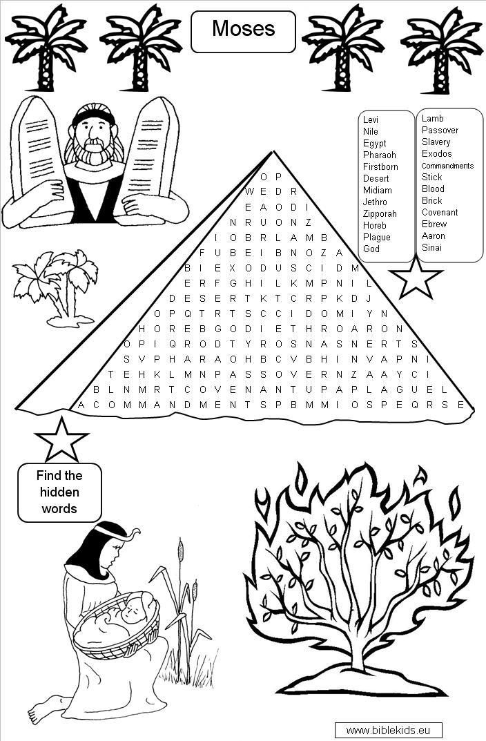 Moses Word Search Puzzle Religious Ed Bible Lessons