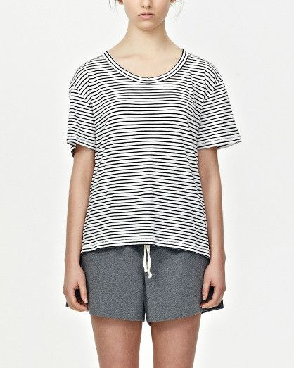 Womens Relaxed Jersey Tee, Nat/Blk Stripe. at www.shoptrawl.com