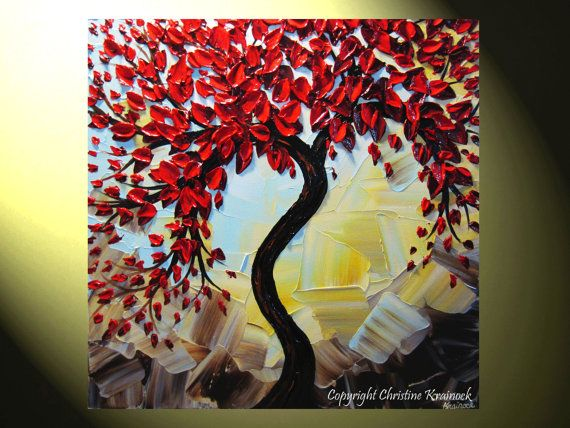Original art abstract painting red tree of life textured - Cuadros abstractos paso a paso ...