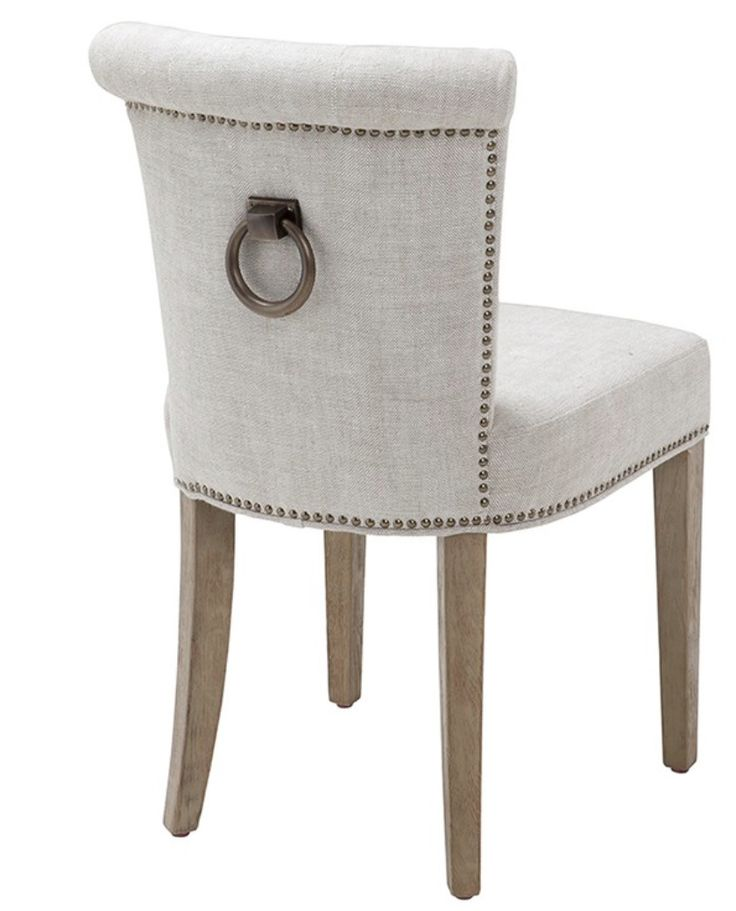Off White Linen Dining Chair With Ring Handle