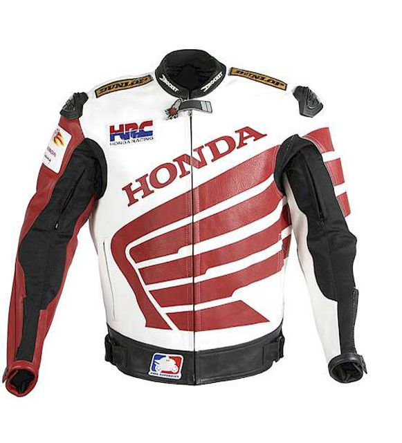 Red White Black Honda Logo HRC Dunlop Motorcycle Wear Genuine Cowhide Safety Pads Handmade Jacket
