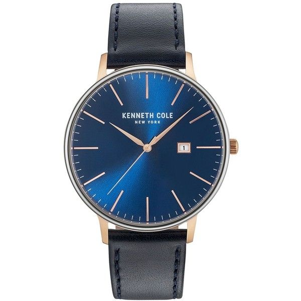 Kenneth Cole Men's Black Leather Strap Watch 42mm KC15059004 (275.080 COP) ❤ liked on Polyvore featuring men's fashion, men's jewelry, men's watches, rose gold, mens leather strap watches, mens rose gold watches, mens watches jewelry and kenneth cole men's watches