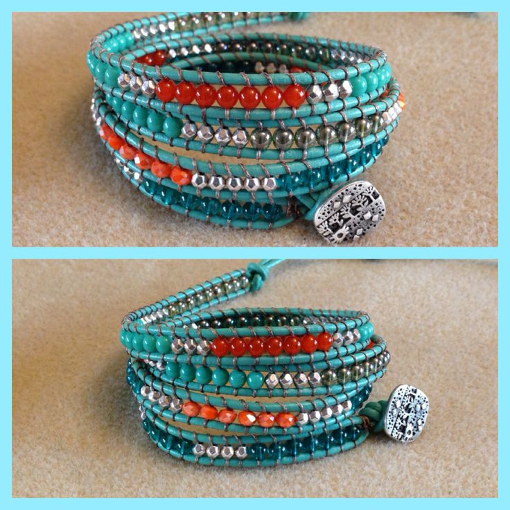 Turquoise colored leather wrap bracelet. For orders go to Facebook page bracelets by Monika Naumann or e-mail 3finsinfo@gmail.com
