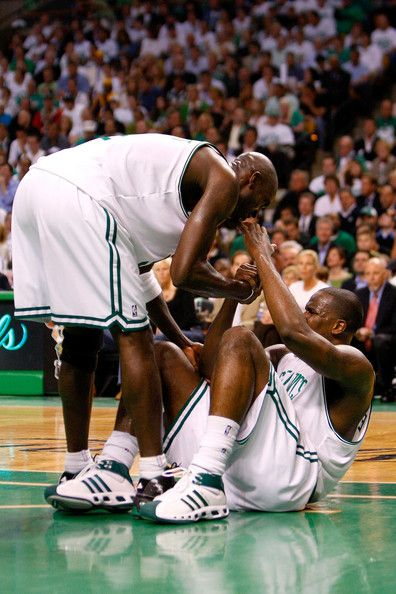 Kendrick Perkins and Kevin Garnett Photos - Kevin Garnett #5 of the Boston Celtics helps up Kendrick Perkins #43 in Game One of the 2008 NBA…