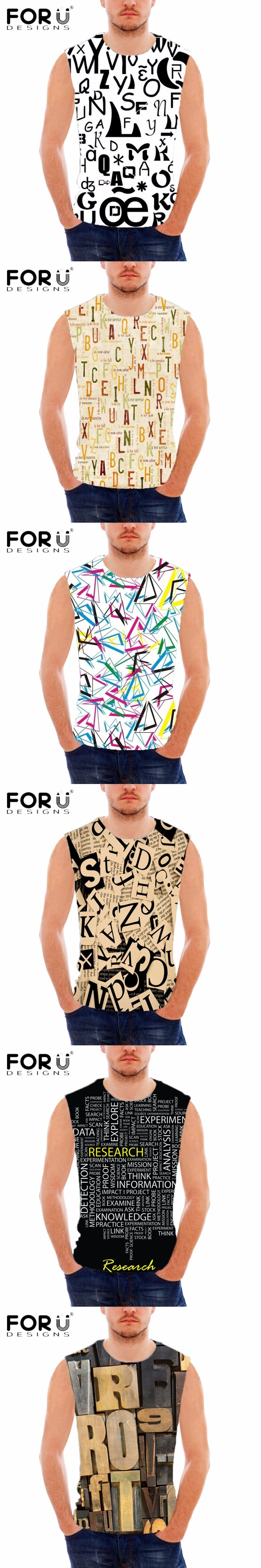 FORUDESIGNS 3D Words Print Tank Top For Man Fashion Summer Customized Designs Vests Man Bodybuilding Tank Top Sleeveless Casual