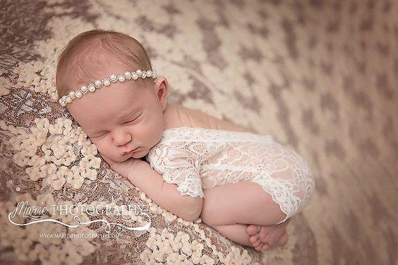 Newborn Lace Romper, Newborn Bodysuit, Photography Prop, Newborn Photo Prop, Open Back Romper, Vintage Newborn…