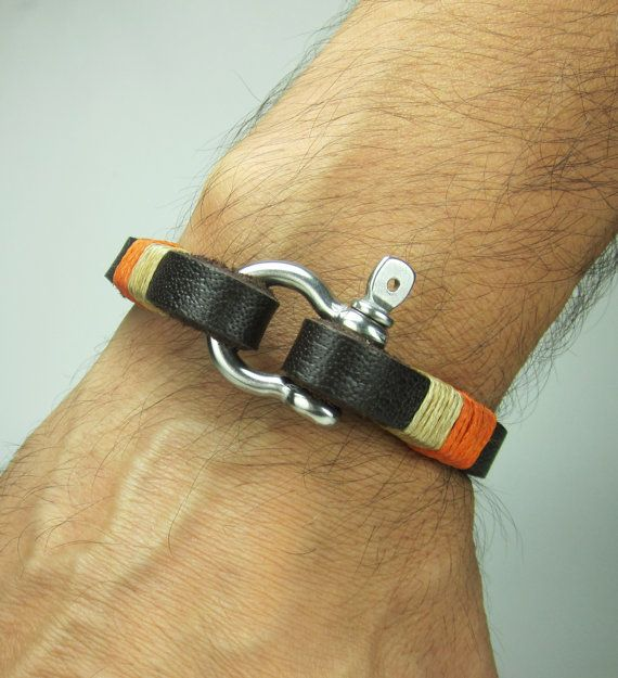Men's leather bracelet Brown leather cuff men's by ZEcollection, $20.00