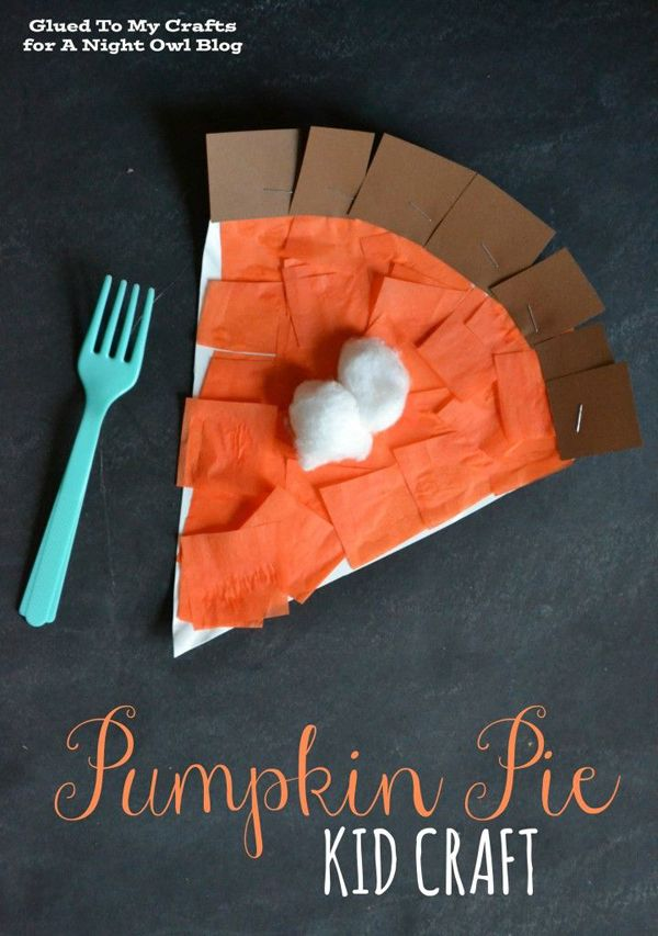 Cute Pumpkin Pie Craft for Kids for Thanksgiving! See the other kids crafts for Thanksgiving on www.prettymyparty.com.