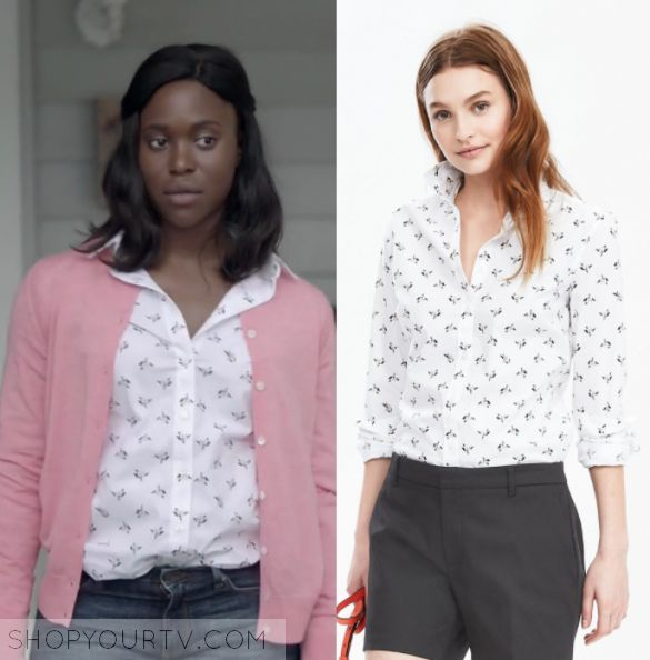 """Shots Fired: Season 1 Episode 8 Kerry's Rose Print Blouse   Shop Your TV Karry Beck (Clare-Hope Ashitey) wears this white button down collared rose/flower printed blouse in this episode of Shots Fired, """"Hour 8: Rock Bottom"""".  It is the Banana Republic Riley-Fit Floral Print Shirt"""