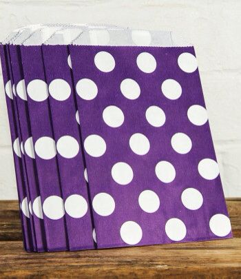 Purple polka dot lolly bags www.qualitytimepartysupplies.com.au