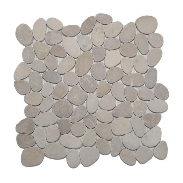 Create great interiors with easy to install Tan Sliced Pebble Tile from the leader in pebble floors. 25 years experience. Free Shipping & Sample Rebate.