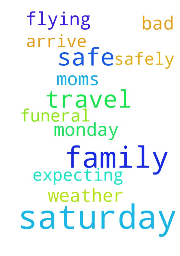 Prayers for safe travel for family this Saturday. - Prayers for safe travel for family this Saturday. My moms funeral is Monday, we are expecting bad weather on Saturday. Most family is flying in on Saturday. Prayers that all will arrive safely. Posted at: https://prayerrequest.com/t/AWj #pray #prayer #request #prayerrequest