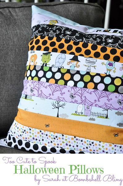 Too Cute to Spook Halloween Pillow Tutorial.  Could be done for any holiday with scraps of fabric.