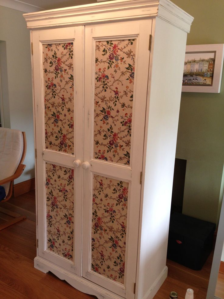 Annie Sloan old white paint and vintage French fabric. Completely transformed what was a nasty orange pine wardrobe!! Love this but would have a grey/white French style wallpaper instead.