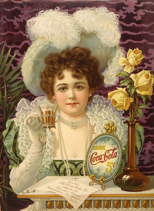 "Print shows a well dressed young woman, wearing hat, white gloves, and pearls, holding up a glass of Coca-Cola, seated at a table on which is a vase of roses, the ""Drink Coca-Cola"" sign, and a paper giving the location of the ""Home Office [of the] Coca-Cola Co."" as well as branch locations."