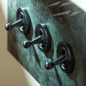 3 Gang 2 Way Dolly Switch in Verdigris from Forbes and Lomax