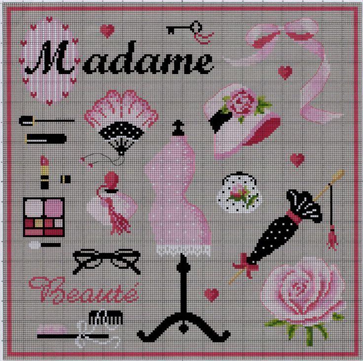 0 point de croix Madame Beauté dressing-room - cross stitch dressing room Madam beauty