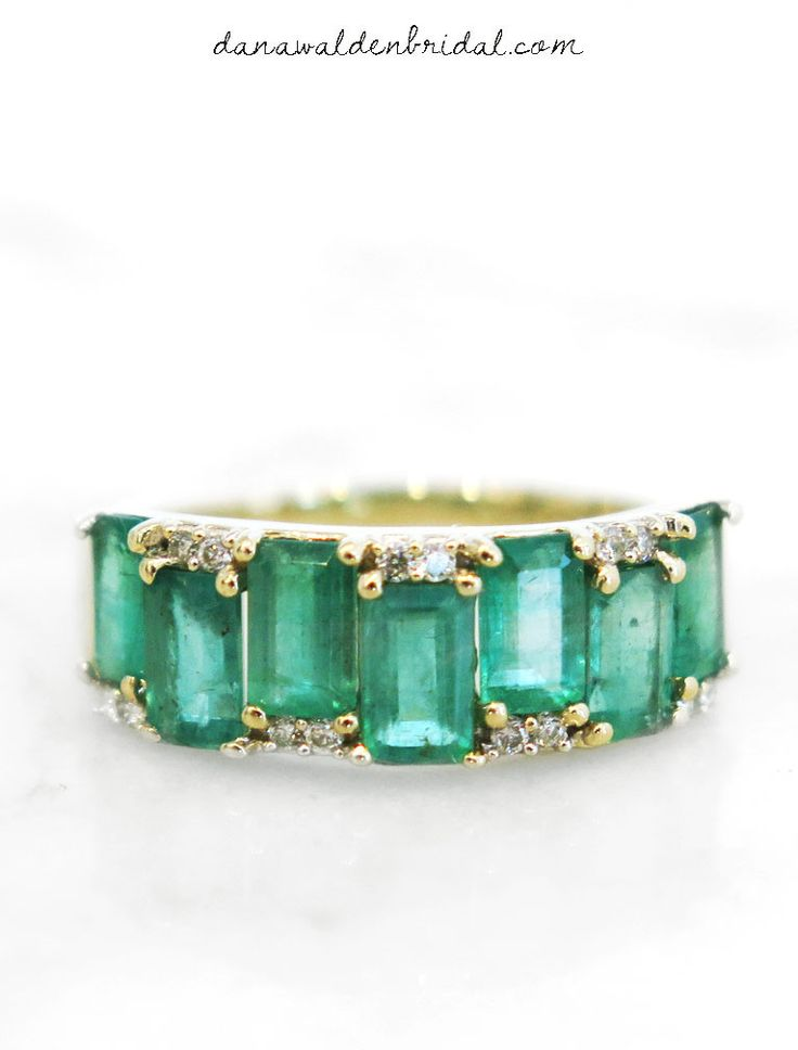 ALLIE - Emerald Diamond Engagement Ring / Wedding Band in 14k Yellow Gold and Diamonds- NYC – Dana Walden Bridal :: Engagement Ring Designers - NYC