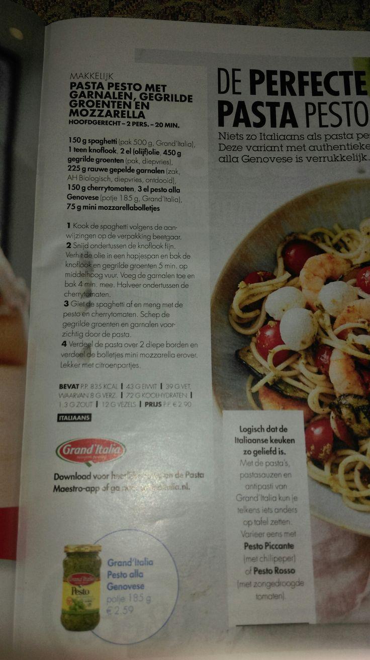 Pasta pesto met garnalen, gegrilde groenten en mozzarella