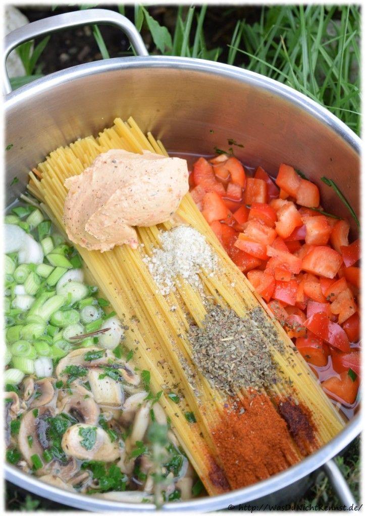 One Pot Pasta - Variation mit Champignons