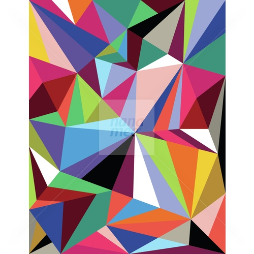 Colour geometric pattern comprised of triangles and crossing lines.