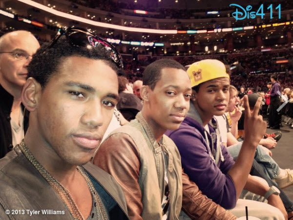"""""""Let It Shine"""" Guys, Trevor Jackson, Tyler James Williams And Brandon Mychal Smith At The Lakers Game"""