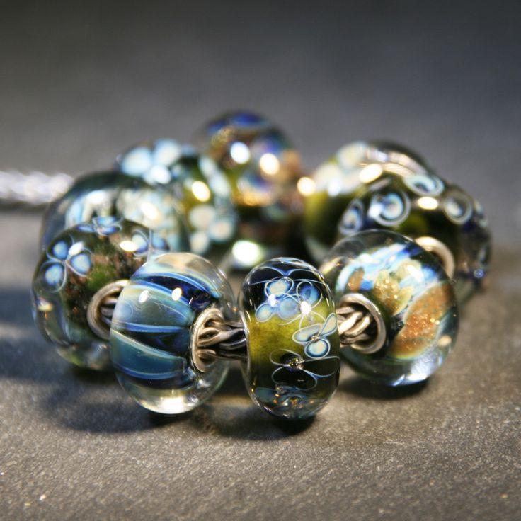 Artisan Lampwork beads for Trollbeads Anne Meiborg - Green bead set www.annemeiborg.etsy.com