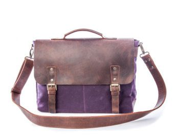 Mens Canvas Messenger Bag Leather Messenger Bag Laptop by Tram21