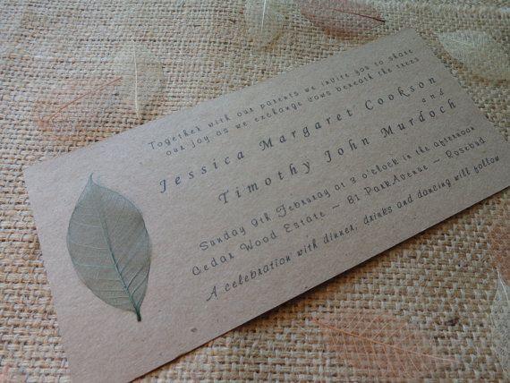 Natural Wedding Invitation Green Leaf by CreateTheDate on Etsy