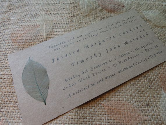Natural Wedding Invitation Green Leaf by CreateTheDate on Etsy