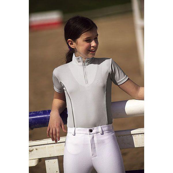 Polo equitazione F.F.E. by Equi-Thème da ragazza, in tessuto elastico e traspirante.