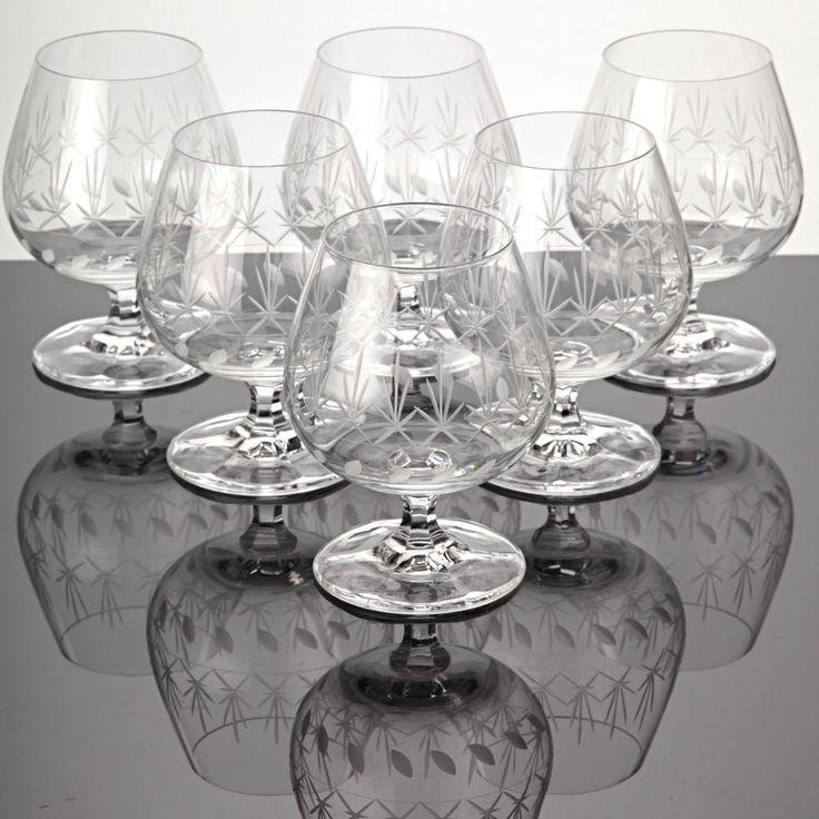 6 Cognacschwenker Cognacgläser Schliff Schliff Treveris Branntwein Gläser W10D